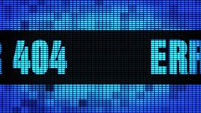 Placa do sinal do tela da parede do diodo emissor de luz de Front Text Scrolling do ERRO 404 ilustração royalty free