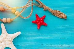 A placa do verão do mar descasca peixes da vieira e da estrela no fundo de madeira azul fotos de stock