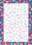 Placa do vetor para a letra ou o cartão Formulário colorido com corações e quadro Tamanho do formato A4 ilustração royalty free