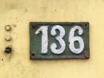 Placa do vintage numerada 136 Imagens de Stock Royalty Free