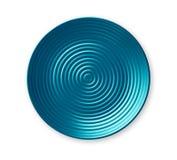 Placa dos círculos concêntricos, placa cerâmica azul vazia no teste padrão ondulado, vista de cima do isolado no fundo branco imagem de stock royalty free