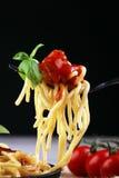 A placa dos espaguetes deliciosos Bolognaise ou Bolonhês com segurelha triturou o molho da carne e de tomate decorado com queijo  Imagens de Stock
