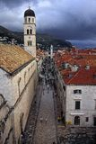 Placa, Dubrovnik. The Placa, main street in the historic downtown of Dubrovnik, after a rain storm royalty free stock photos