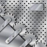 Placa e engrenagens de metal Imagem de Stock