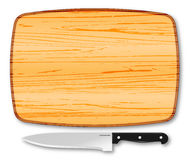 Placa e faca de madeira de desbastamento Imagens de Stock Royalty Free
