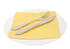 Placa e forquilha, faca e napking Imagens de Stock
