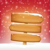 A placa e o inverno de madeira da placa do sinal nevam com espaço da cópia Fotos de Stock