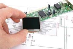 Placa eletrônica com diagrama esquemático Imagem de Stock