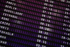 Placa eletrônica do aeroporto imagem de stock royalty free