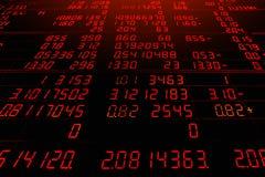 Placa eletrônica vermelha de citações do mercado de valores de ação imagem de stock royalty free