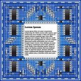 A placa eletrônica em um fundo azul Imagens de Stock