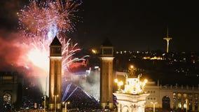 Placa Espana at New Year night stock video footage