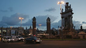 Placa Espana view in evening stock video