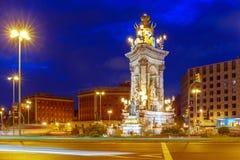 Placa Espanya στη Βαρκελώνη τη νύχτα, Ισπανία Στοκ Φωτογραφία