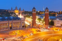 Placa Espanya in Barcelona, Catalonia, Spain stock photos