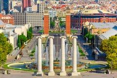 Placa Espanya in Barcelona, Catalonia, Spain. Aerial view of venetian columns, Magic Fountain of Montjuic and Placa Espanya in Barcelona, Catalonia, Spain Royalty Free Stock Photography