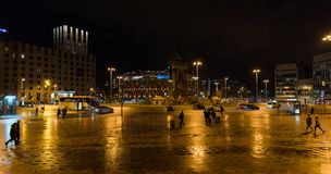Placa Espanya in Barcelona, Catalonia, Spain. Night scene. BARCELONA, SPAIN, March 2018: night view of Placa Espanya in Barcelona, Catalonia, Spain. Arenas de Royalty Free Stock Image