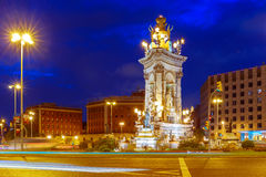 Placa Espanya in Barcelona at night, Spain stock photography