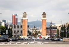 Placa Espanya durch venetianische Türme Stockbilder