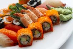 Placa especial del sushi de la mezcla Imagen de archivo libre de regalías