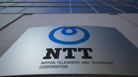 Placa exterior do signage com Nipônico Telégrafo e logotipo do NTT de Telefone Corporaçõ Prédio de escritórios moderno 3D editori Fotografia de Stock Royalty Free