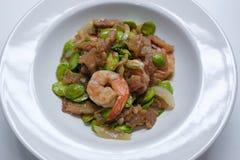 Placa fritada pasta do branco de Sato do camarão Fotos de Stock