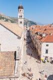 Placa, główna ulica w Dubrovnik starym miasteczku Obrazy Stock