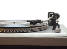 Placa giratoria con el disco de vinilo aislado Imagen de archivo libre de regalías