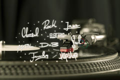 Placa giratoria con los géneros del vinilo y de la música escritos Fotografía de archivo libre de regalías