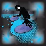 Placa giratoria de la música poster.DJ libre illustration