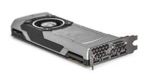 Placa gráfica video com GPU poderoso isolada no fundo branco foto de stock royalty free