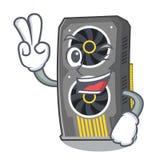Placa gráfica video de dois dedos isolada com desenhos animados ilustração stock