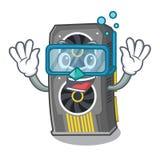 Placa gráfica video de mergulho isolada com desenhos animados ilustração stock