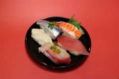 Placa japonesa del sushi en el humor #2 de la celebración Fotografía de archivo