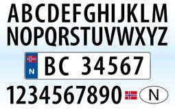 Placa, letras, números y símbolos del coche de Noruega Fotos de archivo libres de regalías