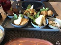 Placa libanesa do alimento do húmus com diversos pratos foto de stock