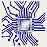 Placa madre con el microchip Fotos de archivo