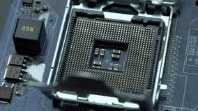 Placa madre con el microprocesador, tecnología nana metrajes