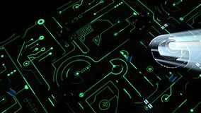 Placa madre de Digitaces y CPU tablero del verde 3D stock de ilustración