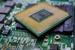 Placa madre del chipset de Digitaces con el microprocesador de procesador Fotos de archivo