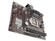 Placa madre del ordenador aislada en el fondo blanco representación 3d Foto de archivo