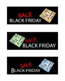 Placa madre del ordenador en banderas de la venta de Black Friday Imágenes de archivo libres de regalías