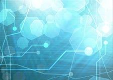 Placa madre del ordenador en un fondo azul imagen de archivo