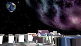 Placa madre del ordenador, espacio y tierra del planeta Imágenes de archivo libres de regalías