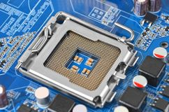 Placa madre del ordenador, zócalo de la CPU, DOF Imagenes de archivo