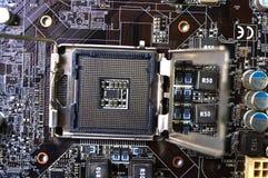 Placa madre impresa del ordenador con el microcircuito, cierre para arriba fotos de archivo