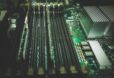 Placa madre interior del servidor, RAM Foto de archivo libre de regalías