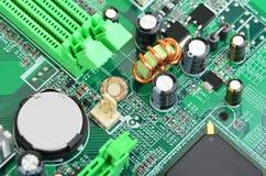 Placa madre verde del ordenador Imagenes de archivo