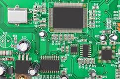 Placa madre verde del ordenador Fotografía de archivo libre de regalías