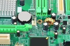 Placa madre verde del ordenador Fotografía de archivo